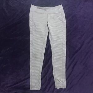 Tan and Silver Striped Leggings